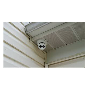 security camera mounted on house